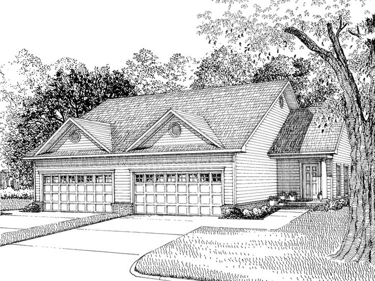 61 best house plans images on pinterest house design for Ranch style duplex plans
