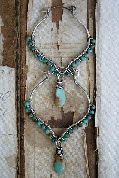 Deryn Mentock Lodestar Lantern hoops http://somethingsublime.typepad.com/jewelry_works/bo.html silver turquoise boho earrings