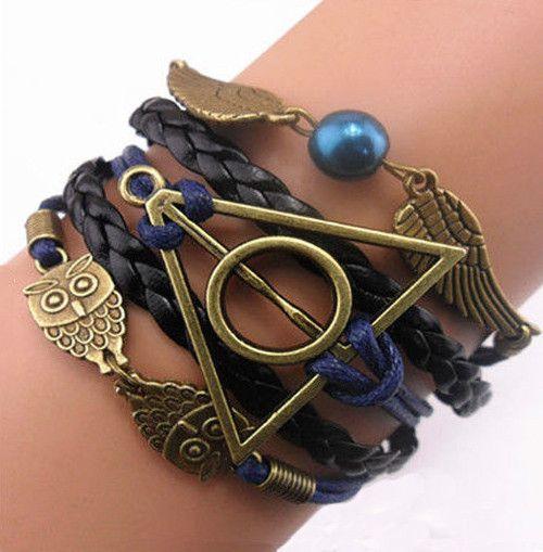 Infinity Bracelet vintage Harry Potter bracelet deathly hallows link Bracelets Charms Bracelet good gift