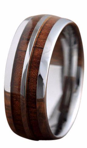 8mm Silver Tungsten Koa Wood Ring With Tungsten Stripe