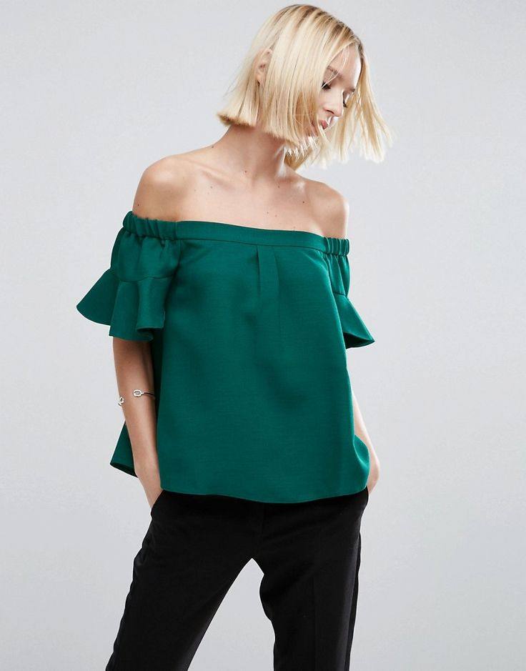 Buy it now. ASOS Off Shoulder Top with Frill Sleeve - Green. Top by ASOS Collection, Lightweight textured woven, Stretch bardot neck, Frill sleeves, Relaxed fit, Machine wash, 100% Polyester, Our model wears a UK 8/EU 36/US 4. ABOUT ASOS COLLECTION Score a wardrobe win no matter the dress code with our ASOS Collection own-label collection. From polished prom to the after party, our London-based design team scour the globe to nail your new-season fashion goals with need-right-now dresses…