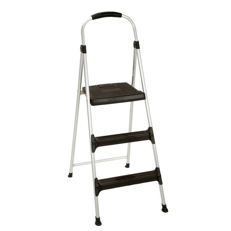 Signature 3-Step Aluminum Step Stool Ladder with Plastic Steps