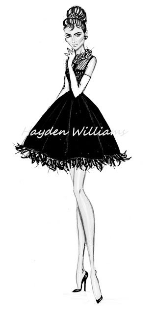 Hayden Williams Fashion Illustrations: Iconic Women Collection by Hayden Williams: Audrey