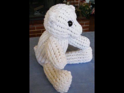 Loom Knit - How to Make A Teddy Bear with a 24 peg and a 12 peg Knifty Knitter Loom. From Scarlyartmuse.