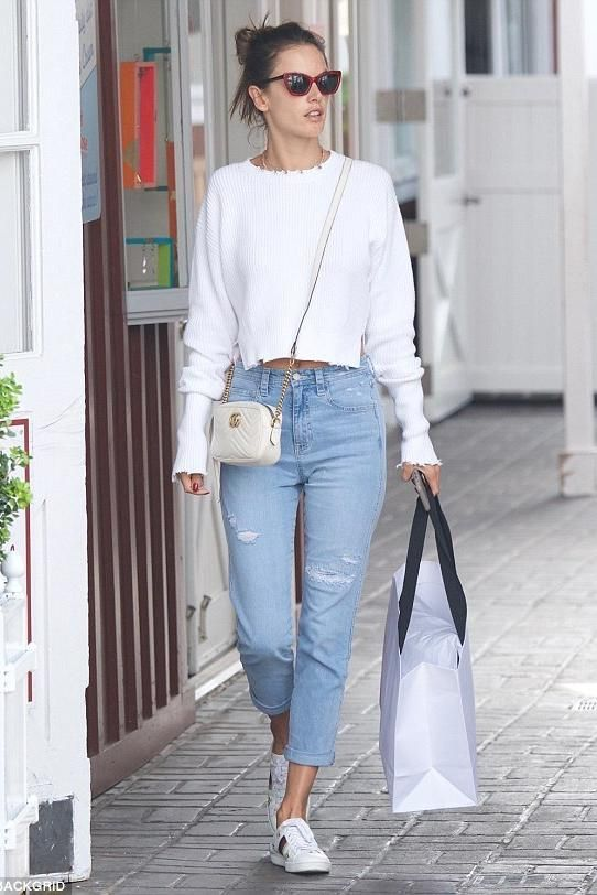 59353590995 Alessandra Ambrosio wearing Gucci Ace Collapsible Heel Sneakers With Bees  and Stars and Gucci Gg Marmont Camera Bag in Mystic White