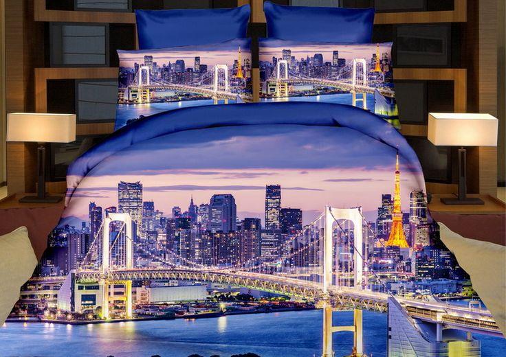 Fioletowa pościel do sypialni z motywem miasta