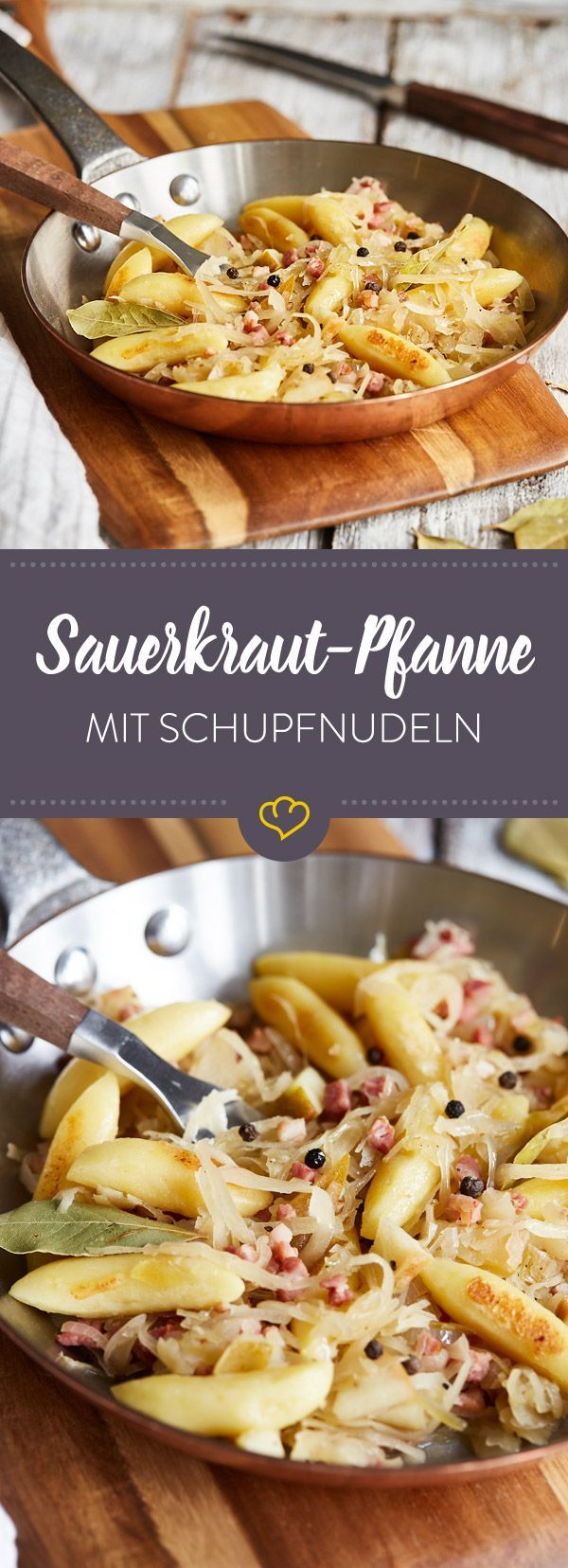 Sauerkraut-Pfanne mit Schupfnudeln und Speck