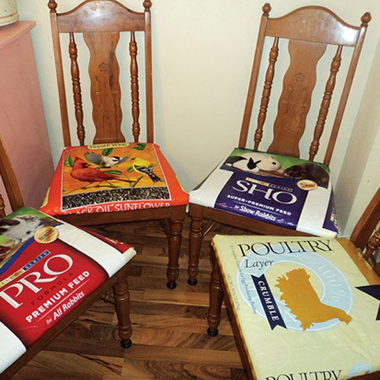 My idea on recovering chairs with feed/seed bags in Mother Earth News!