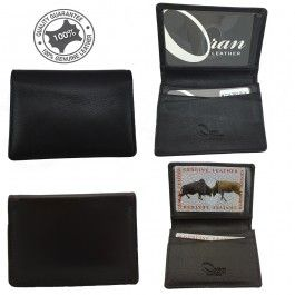 New Genuine Full Grain Leather Mens Slim Card Wallet CH-362