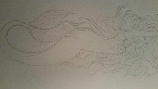 3) Dit is de schets van de zeemeermin die ik wilde gebruiken voor de uiteindelijke opdracht. Later ben ik toch van gedachte veranderd omdat ik iets meer wilde dan alleen dit omdat het er een beetje saai uitzag.
