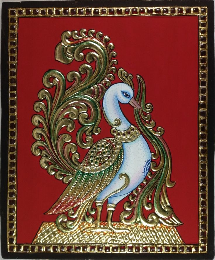Tanjore Painting Thanjavur wall decor swan nature art work