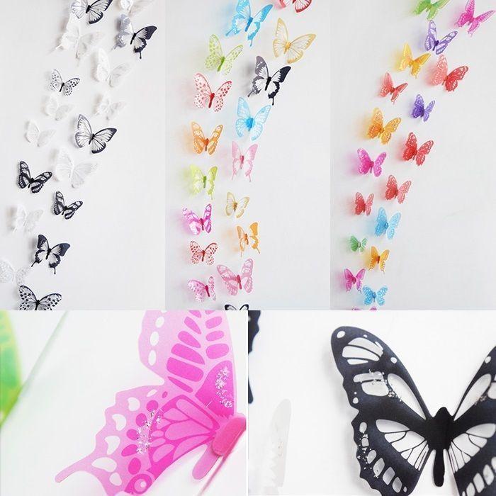 18Pièces Papillons Chic Sticker Mural 3 D Papier Peint Décoration Maison Express