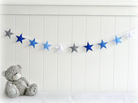 Star garland - felt star banner - You pick your colors - Blue, gray and white - Nursery decor - birthday decor - party decor
