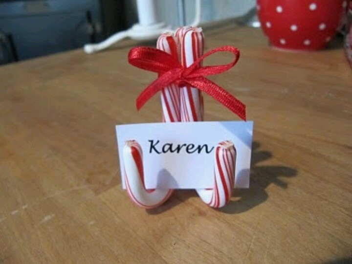 candy cane place setting card holder