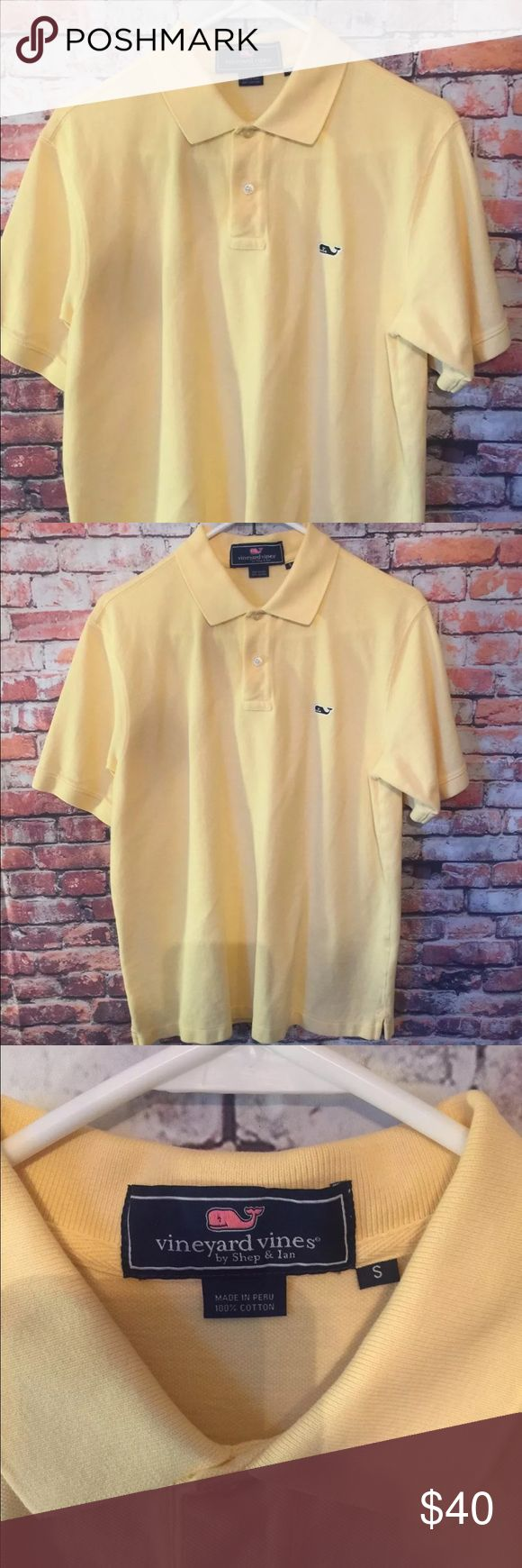 "Vineyard Vines Mens Classic Polo Lemonade Yellow S Type: Men's Polo Shirt Brand: Vineyard Vines Material: 100%Cotton Color: Lemonade Yellow Measurements: Armpit-Armpit 19 1/2"" Chest 15"" Length 26 1/2"" Condition: ""Like New""/Great Condition@ Stock Number#92 Vineyard Vines Shirts Polos"