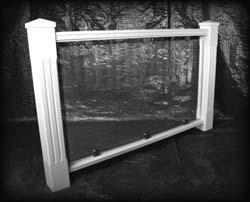 Rekkverk for veranda mot hagen: herdet glass; Jonland – Zander