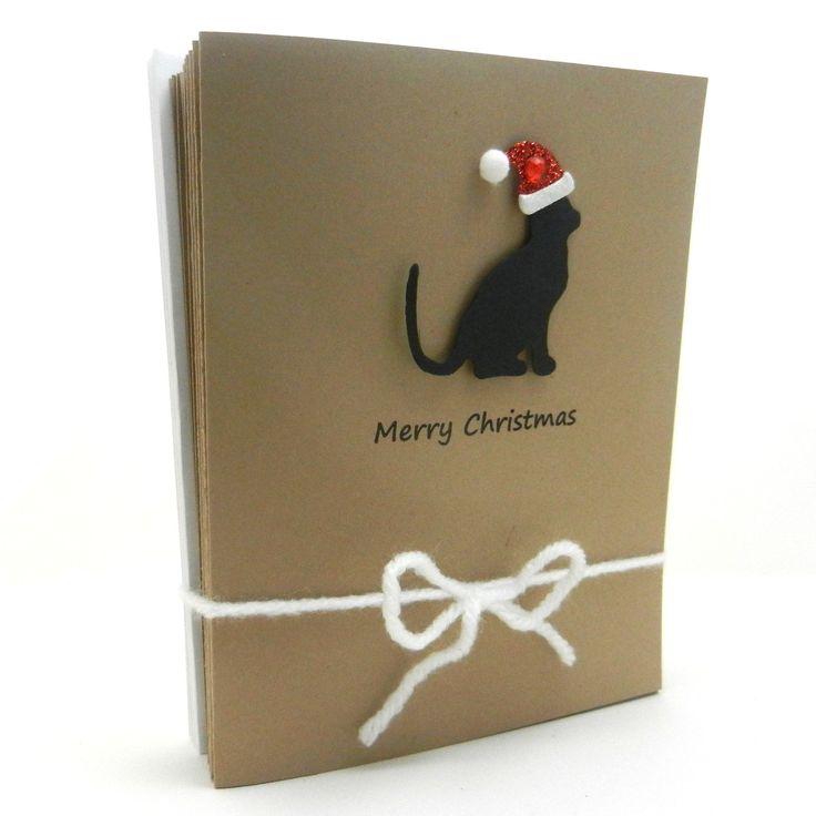 Handmade Christmas Cards - Black Cat Silhouette with Santa Hat - 10 pack. $12.50, via Etsy.
