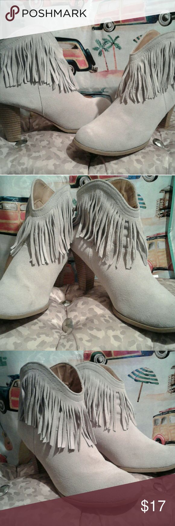 Boots Suede Fringe Shorty Boots. Rubber bottom. Need just a little cleaning..Otherwise  Excellent Condition . Pre-Loved...Off White American Apparel Shoes Ankle Boots & Booties