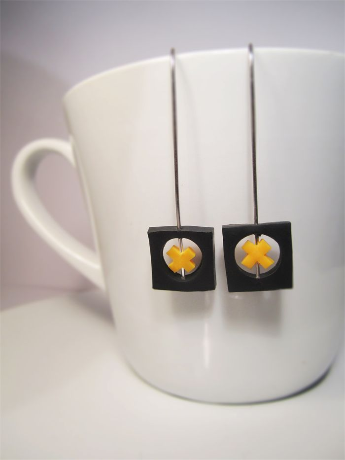 Black & Yellow Minimalist Square Cross Earrings $18.00 includes delivery.