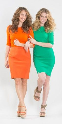 Pencil skirt BCS8172 available in orange (left), emerald (right), black, key lime and white