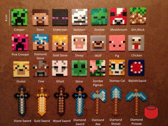 Minecraft Keychains, Magnets and Pins from Perler Beads
