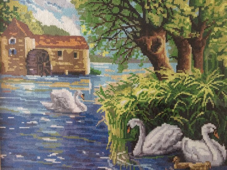 """Completed cross stitch, Home decoration, Framed cross stitch, Handmade embroidery -""""Swans"""". Free shipping by NattikStudio on Etsy"""