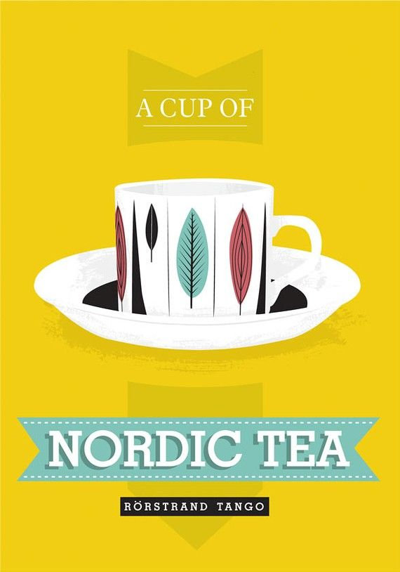 Tea cup  print kitchen art poster     Nordic Tea  by handz