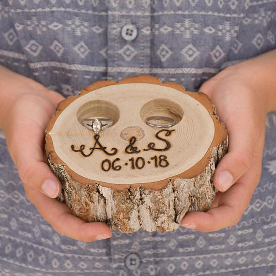 Rustic Ring Box Rustic Tree Stump Ring Bearer Pillow Box Initials And Date Ring Pillow Alternative Engraved By Hand Personalized Ring Bearer Wedding Wedding Ring Bearer Pillow Wood Wedding Ring