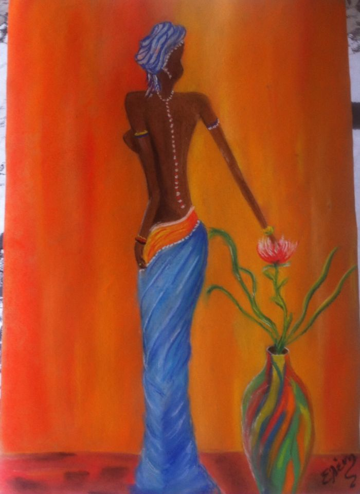 Africa woman Pastel painting