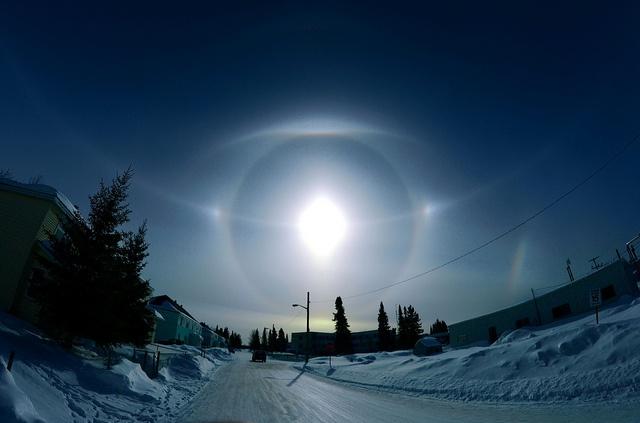 Solar Parhelion Ice Halo, photographed in Moose Factory, Ontario CANADA by yu244720, via Flickr