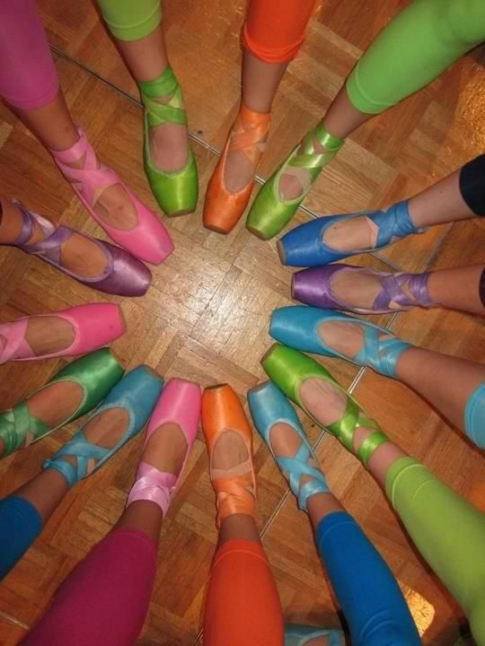 Its a rainbow of pointe shoes!!!