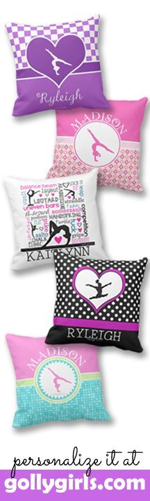 Gymnastics themed throw pillows - many can be personalized.    Prices start at just $21.99! Only at gollygirls.com
