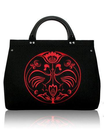 Embroidered black felt bag NEW FOLK | SoLime www.solime.com.au