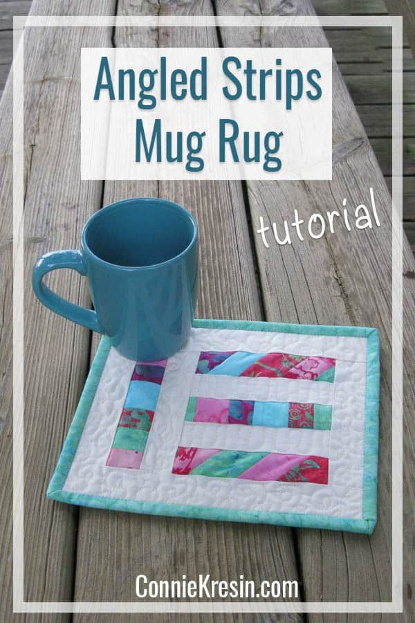 Angled Strips Mug Rug Tutorial Rugs Embroidered Ith