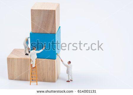 miniature people worker painting wood cube building block