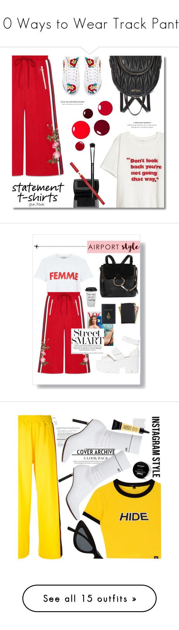 """10 Ways to Wear Track Pants"" by polyvore-editorial ❤ liked on Polyvore featuring trackpants, waystowear, Gucci, Miu Miu, Dolce&Gabbana, Lancôme, MAC Cosmetics, Bourjois, contestentry and slogantshirts"