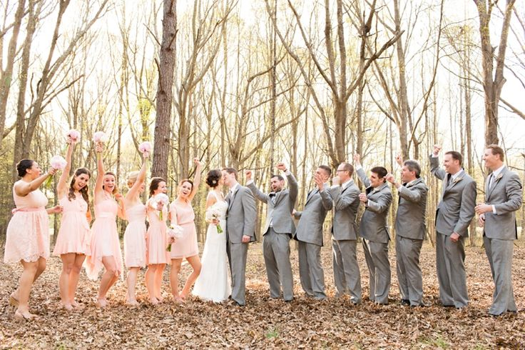Blush Wedding Dress Grey Bridesmaids : Soft blush pink bridesmaid dresses grey groomsmen suits