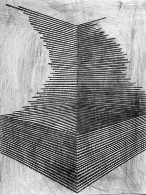 danny jauregui / Ruin #9 Graphite and ash on panel #lines #geometric #patterns