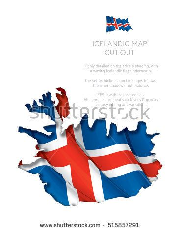 Vector Illustration of a cut out Map of Iceland with a waving Icelandic flag underneath. All elements neatly on layers and groups for easy editing and variations.