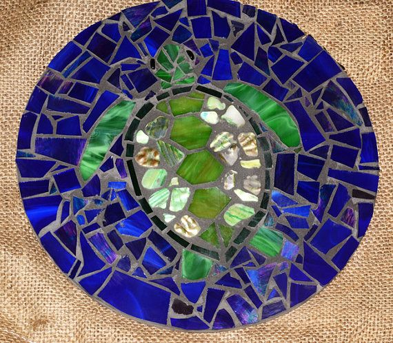 Stained Glass Mosaic Underwater Sea Turtle