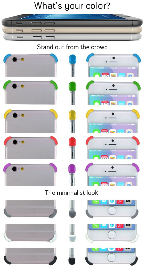 What color defines you? Pre-Order your Bumpies protectors compatible with iPhone 6 and 6 Plus - http://www.bumpies.co/product/bumpies-protectors-iphone6/.  You can use the iPhone 5s/5 page to test out color combinations of Bumpies protectors and iPhone colors - http://www.bumpies.co/product/bumpies-protectors-iphone5s/ #iphone6 #iphone6plus #iphone6case #iphone6accessories #bumpies #bumpercase