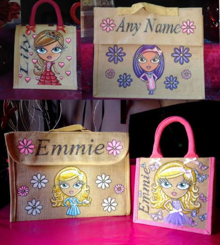 Glitterglamz School Range Personalised Jute Lunch Bags Book Bag Hand Painted | eBay