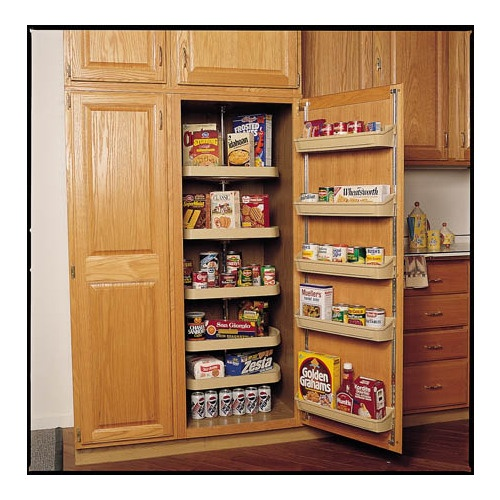 Effective Pantry Shelving Designs For Well Organized: Rev-A-Shelf 2-Tier Plastic D-Shape Cabinet Lazy Susan 6265