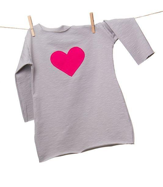 Love Dress szara - tunika z długim rękawem. Tunika dla dziewczynki, surowo wykończona
