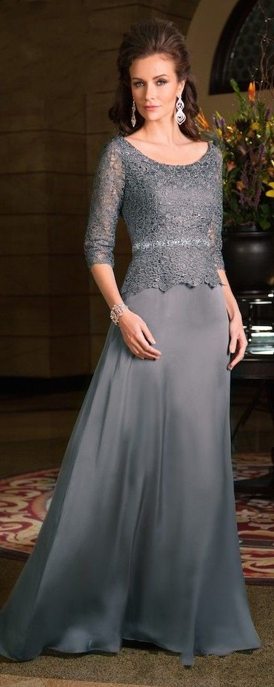 Plus Size Scoop Neck 3/4 Sleeves Chiffon Lace Gray 2015 Mother Of The Bride…