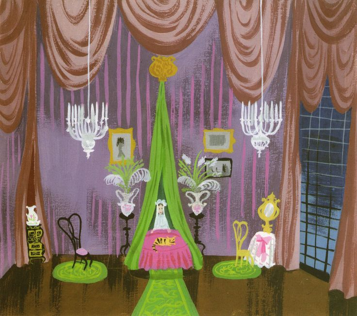 """Concept art by Mary Blair for Disney's """"Cinderella"""" (1950)."""