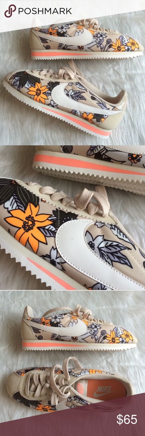 Nike Cortez floral beige womens shoes Brand new without box. Ships same day or very next. 100% authentic. Comment if you have any questions before purchasing. WOMENS Nike Shoes Sneakers