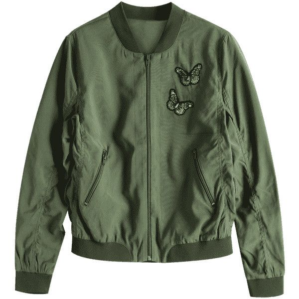 Zip Up Butterfly Beading Bomber Jacket ($31) ❤ liked on Polyvore featuring outerwear, jackets, green military jacket, green bomber jackets, flight jacket, olive green jacket and army green jackets