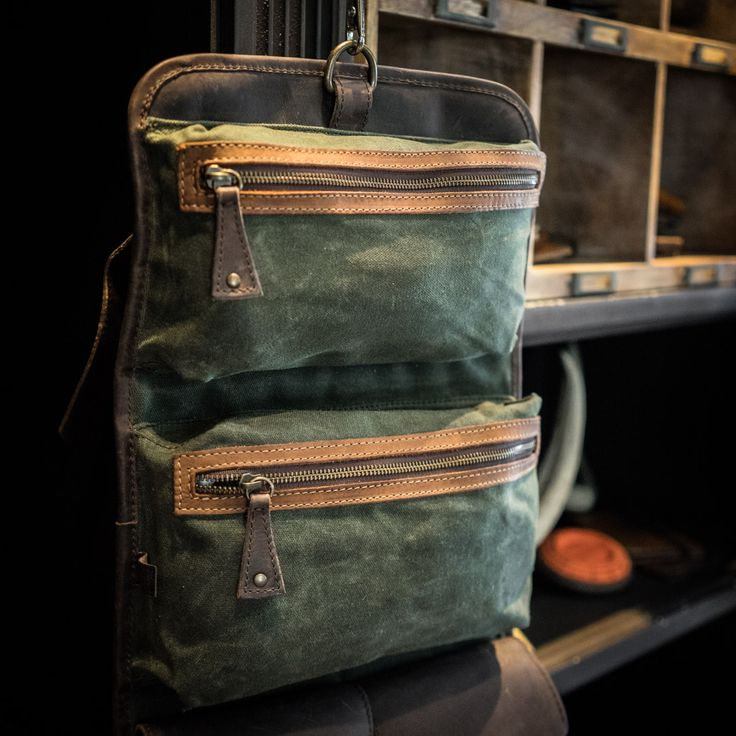 Riverton Men's Toiletry Bag - Green Waxed Canvas & Leather