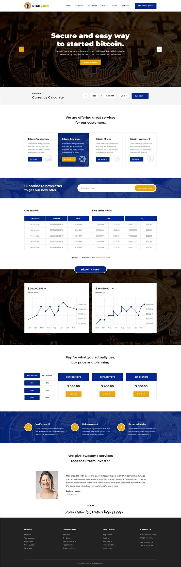 Richcoin is clean and modern design PSD template for #bitcoin, #cryptocurrency trading and mining #business website with 17 layered PSD files to live preview & download click on image or Visit  #webdesign